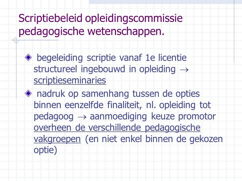 Scriptiebeleid opleidingscommissie pedagogische wetenschappen.