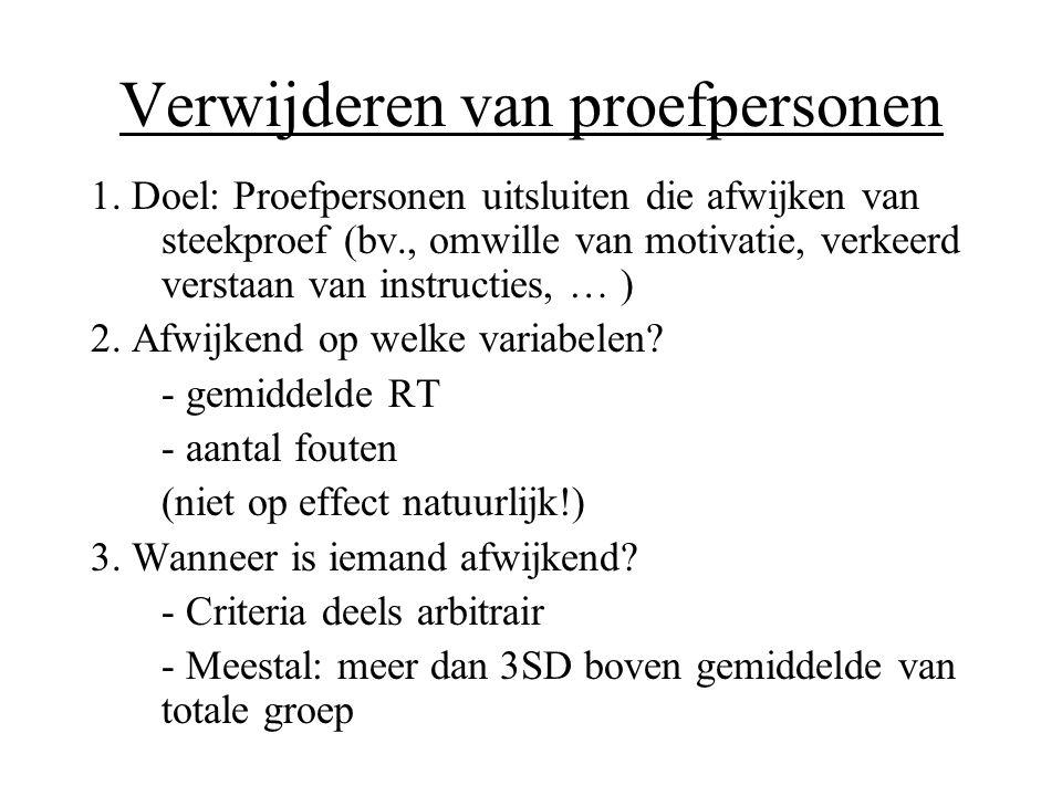 Verwijderen van proefpersonen 1. Doel: Proefpersonen uitsluiten die afwijken van steekproef (bv., omwille van motivatie, verkeerd verstaan van instruc