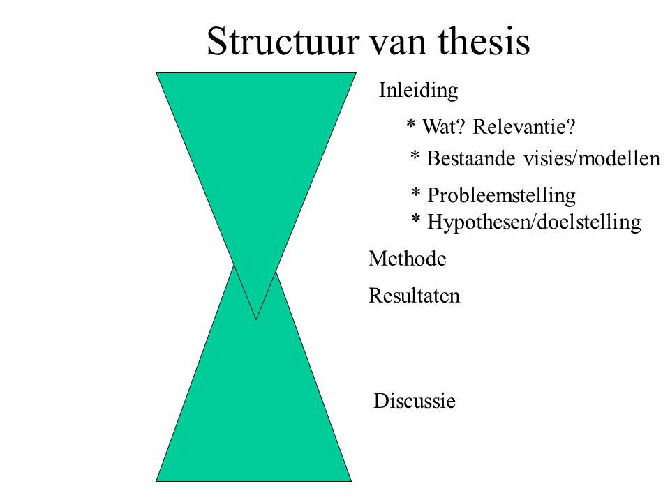 Structuur van thesis Inleiding Methode Resultaten Discussie * Wat? Relevantie? * Bestaande visies/modellen * Probleemstelling * Hypothesen/doelstellin