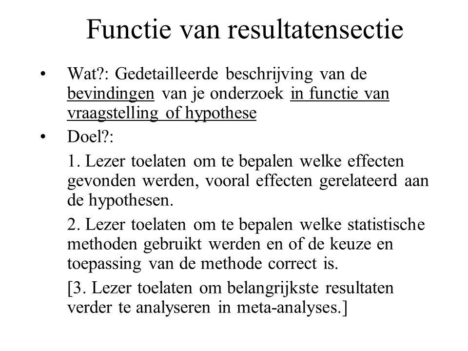 Functie van resultatensectie Wat?: Gedetailleerde beschrijving van de bevindingen van je onderzoek in functie van vraagstelling of hypothese Doel?: 1.