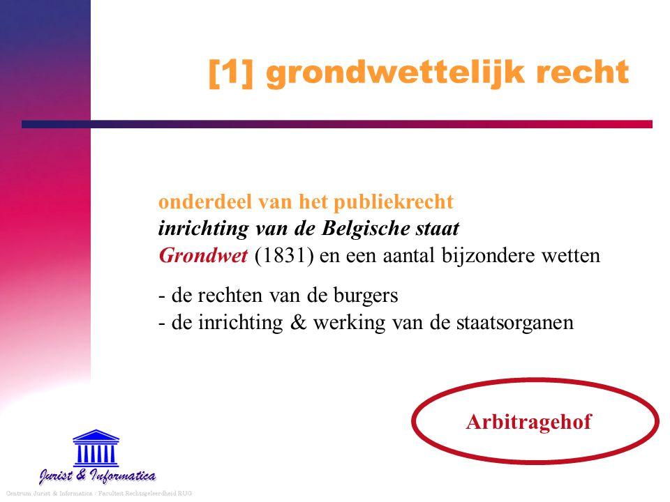 [1] grondwettelijk recht onderdeel van het publiekrecht inrichting van de Belgische staat Grondwet (1831) en een aantal bijzondere wetten - de rechten
