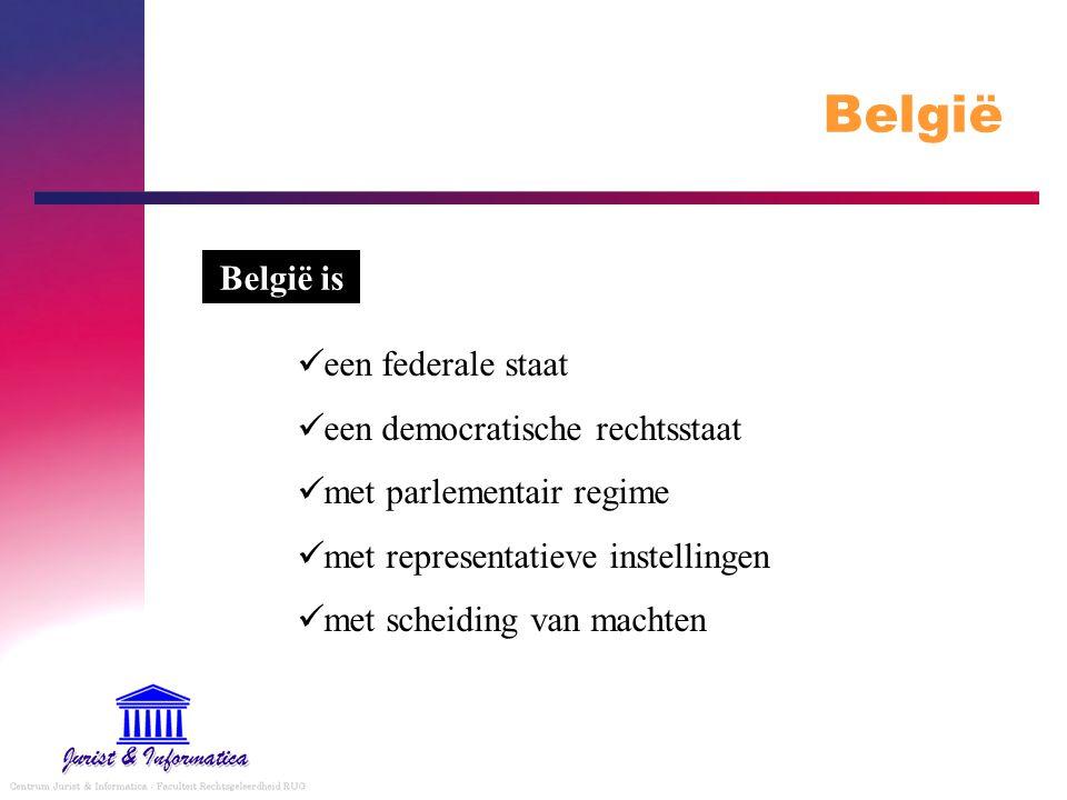 België België is een federale staat een democratische rechtsstaat met parlementair regime met representatieve instellingen met scheiding van machten