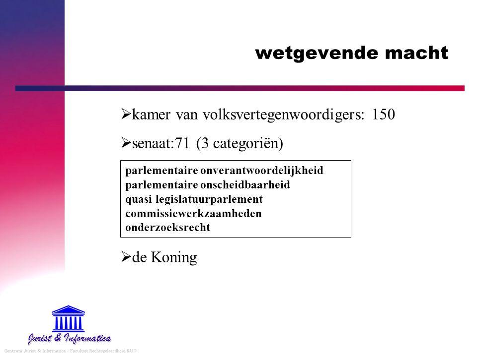 wetgevende macht  kamer van volksvertegenwoordigers: 150  senaat:71 (3 categoriën)  de Koning parlementaire onverantwoordelijkheid parlementaire on