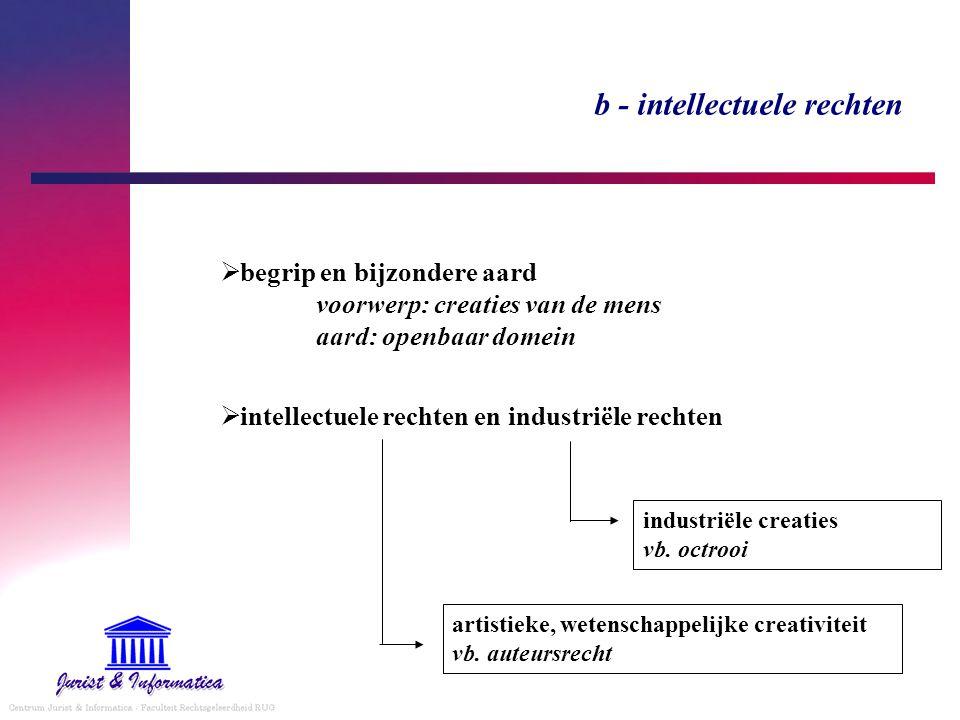 b - intellectuele rechten  begrip en bijzondere aard voorwerp: creaties van de mens aard: openbaar domein  intellectuele rechten en industriële rech