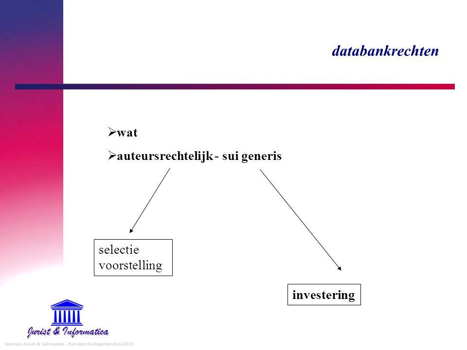 databankrechten  wat  auteursrechtelijk - sui generis selectie voorstelling investering