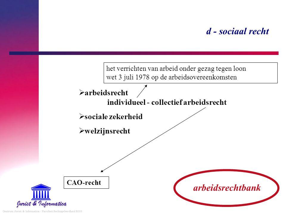 d - sociaal recht arbeidsrechtbank  arbeidsrecht individueel - collectief arbeidsrecht  sociale zekerheid  welzijnsrecht CAO-recht het verrichten v