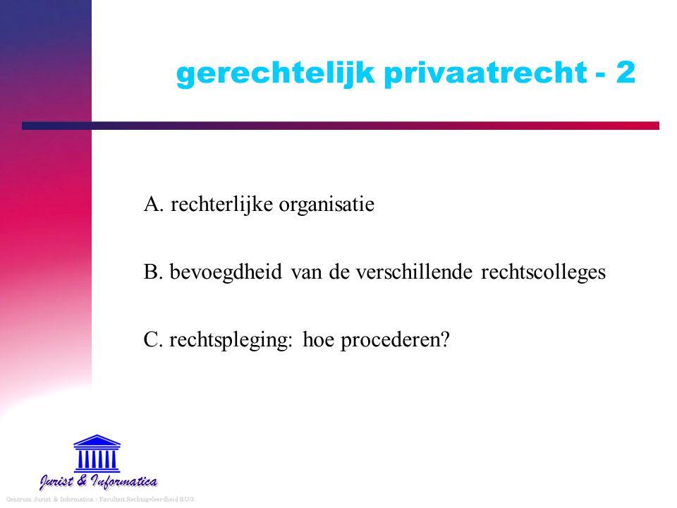 gerechtelijk privaatrecht - 2 A. rechterlijke organisatie B. bevoegdheid van de verschillende rechtscolleges C. rechtspleging: hoe procederen?