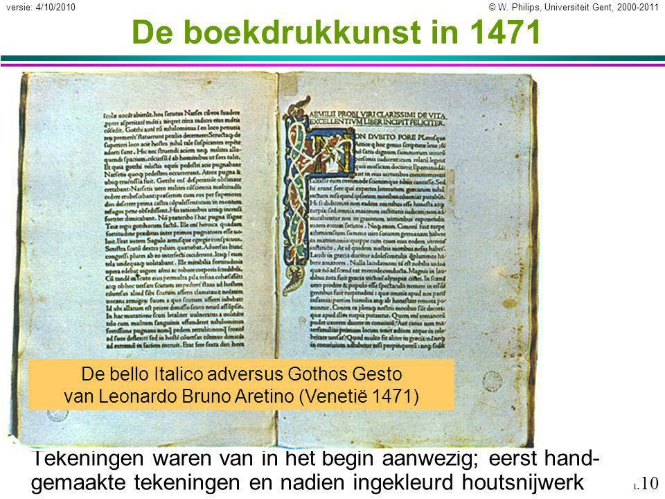 © W. Philips, Universiteit Gent, 2000-2011versie: 4/10/2010 02a. 10 De boekdrukkunst in 1471 Tekeningen waren van in het begin aanwezig; eerst hand- g
