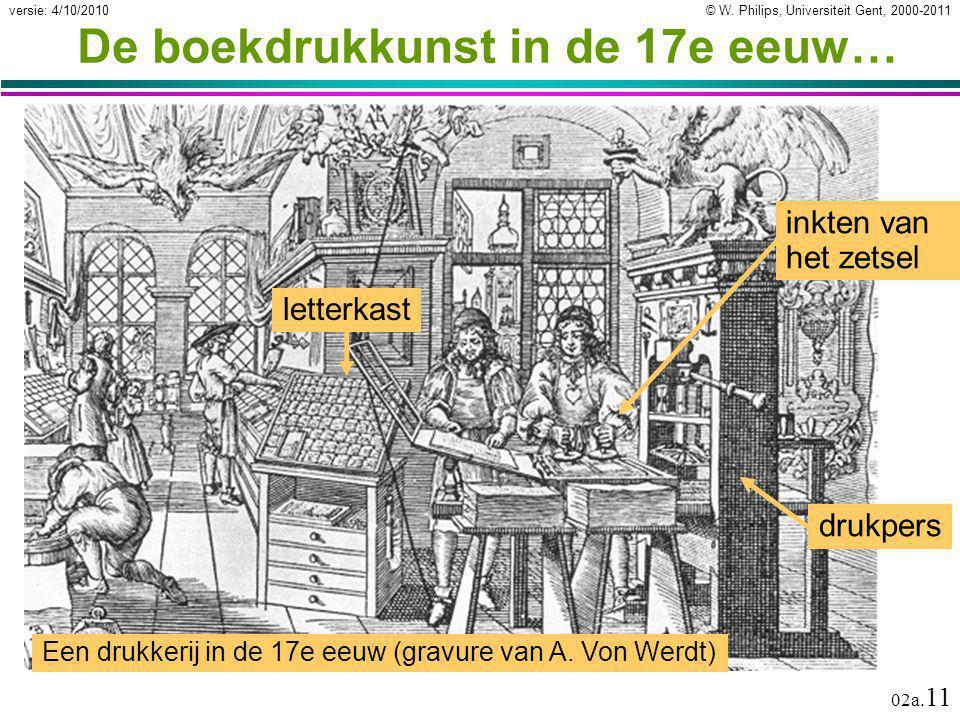 © W. Philips, Universiteit Gent, 2000-2011versie: 4/10/2010 02a. 11 De boekdrukkunst in de 17e eeuw… Een drukkerij in de 17e eeuw (gravure van A. Von