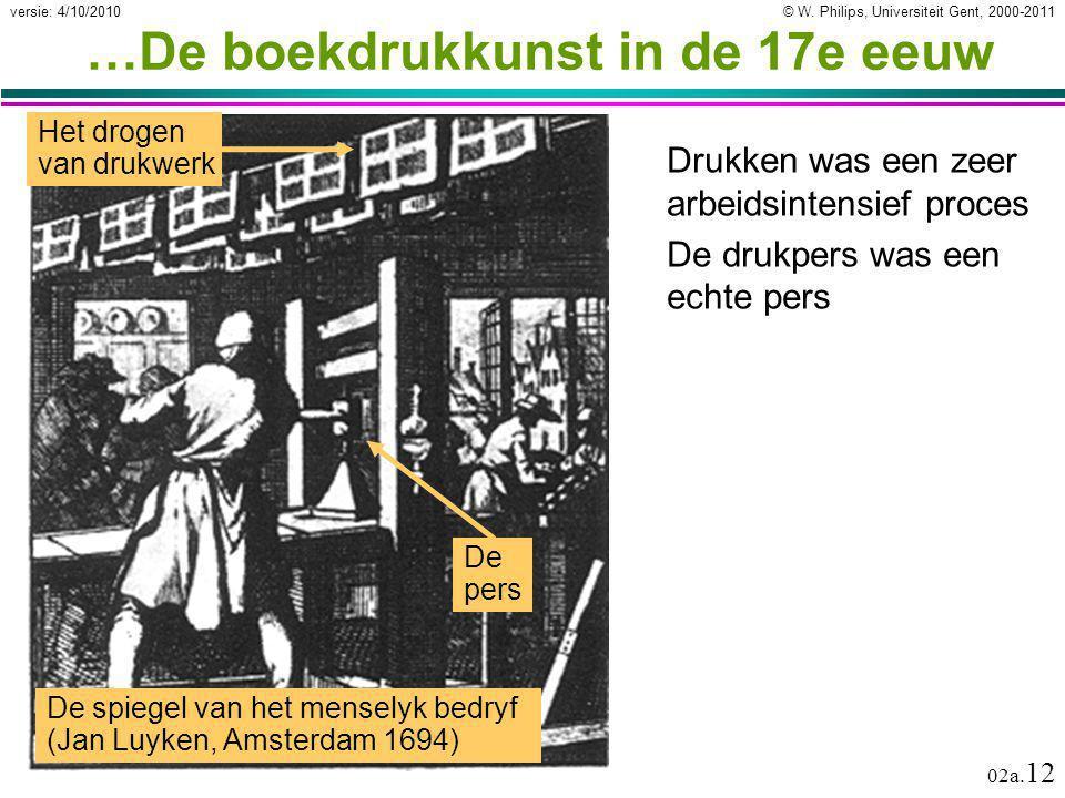 © W. Philips, Universiteit Gent, 2000-2011versie: 4/10/2010 02a. 12 …De boekdrukkunst in de 17e eeuw Drukken was een zeer arbeidsintensief proces De d