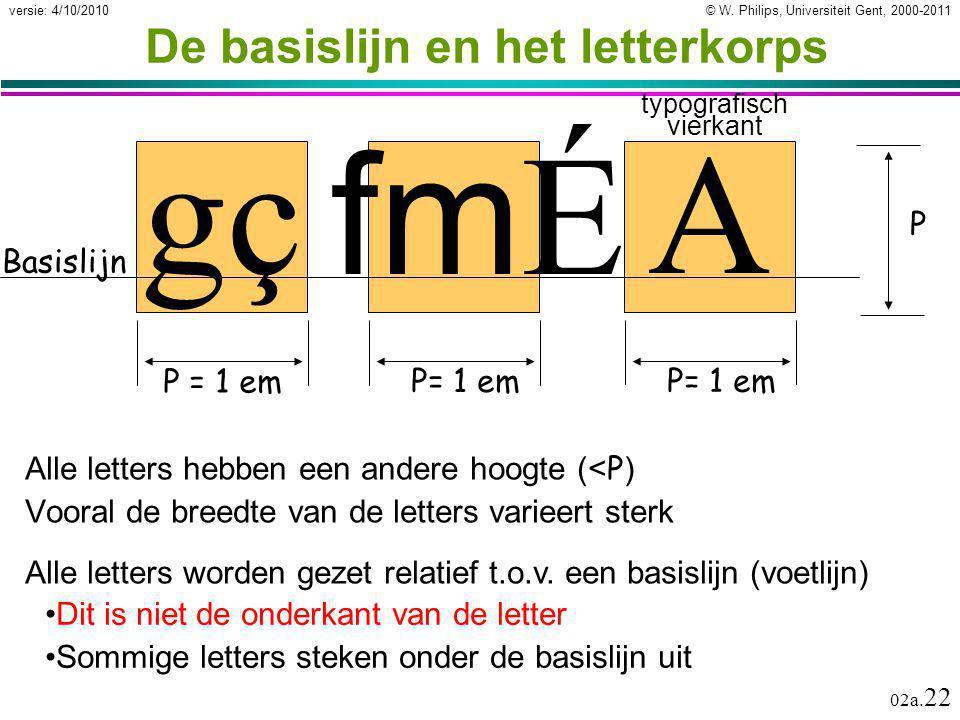 © W. Philips, Universiteit Gent, 2000-2011versie: 4/10/2010 02a. 22 A P= 1 em fmÉ fmÉ gç P = 1 em De basislijn en het letterkorps Alle letters hebben