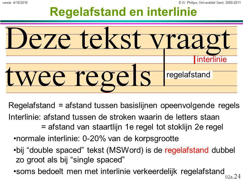 © W. Philips, Universiteit Gent, 2000-2011versie: 4/10/2010 02a. 24 Regelafstand en interlinie Regelafstand = afstand tussen basislijnen opeenvolgende