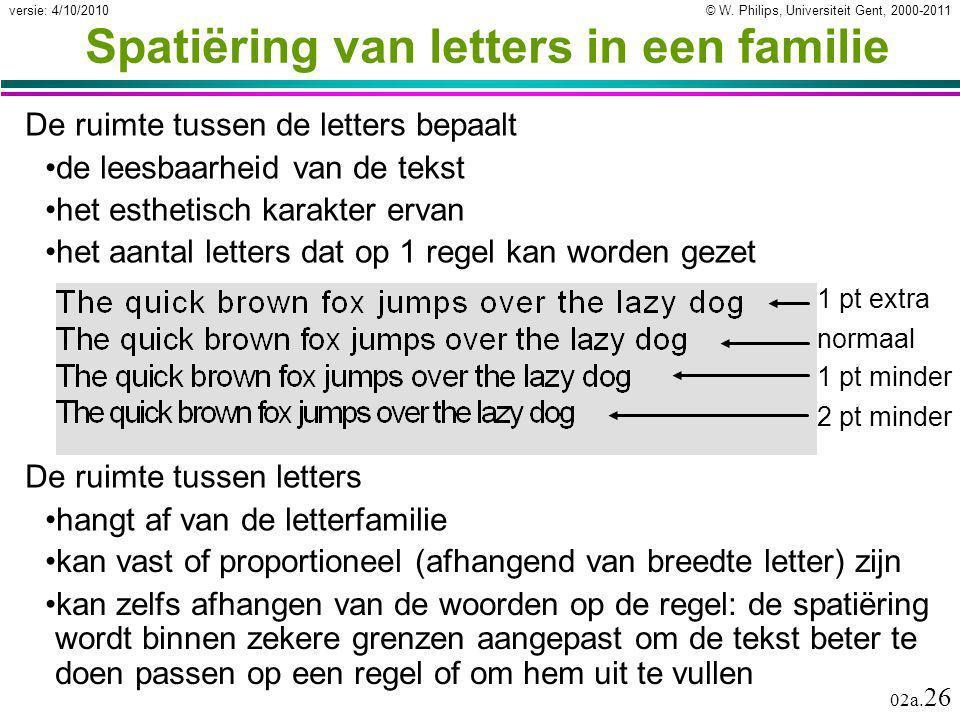 © W. Philips, Universiteit Gent, 2000-2011versie: 4/10/2010 02a. 26 Spatiëring van letters in een familie De ruimte tussen de letters bepaalt de leesb