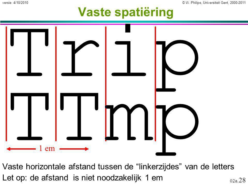 """© W. Philips, Universiteit Gent, 2000-2011versie: 4/10/2010 02a. 28 Vaste spatiëring Vaste horizontale afstand tussen de """"linkerzijdes"""" van de letters"""