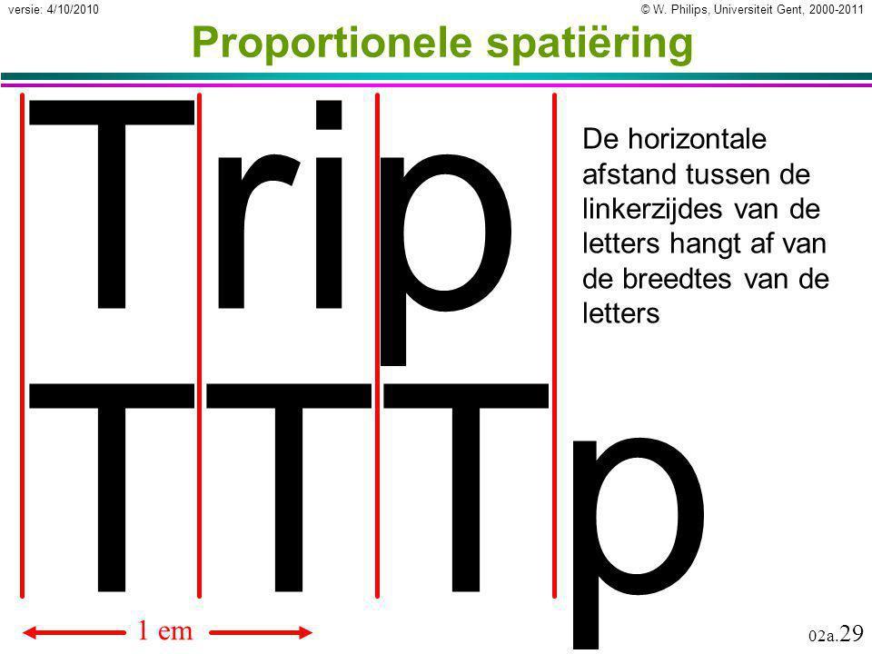 © W. Philips, Universiteit Gent, 2000-2011versie: 4/10/2010 02a. 29 Proportionele spatiëring Trip De horizontale afstand tussen de linkerzijdes van de