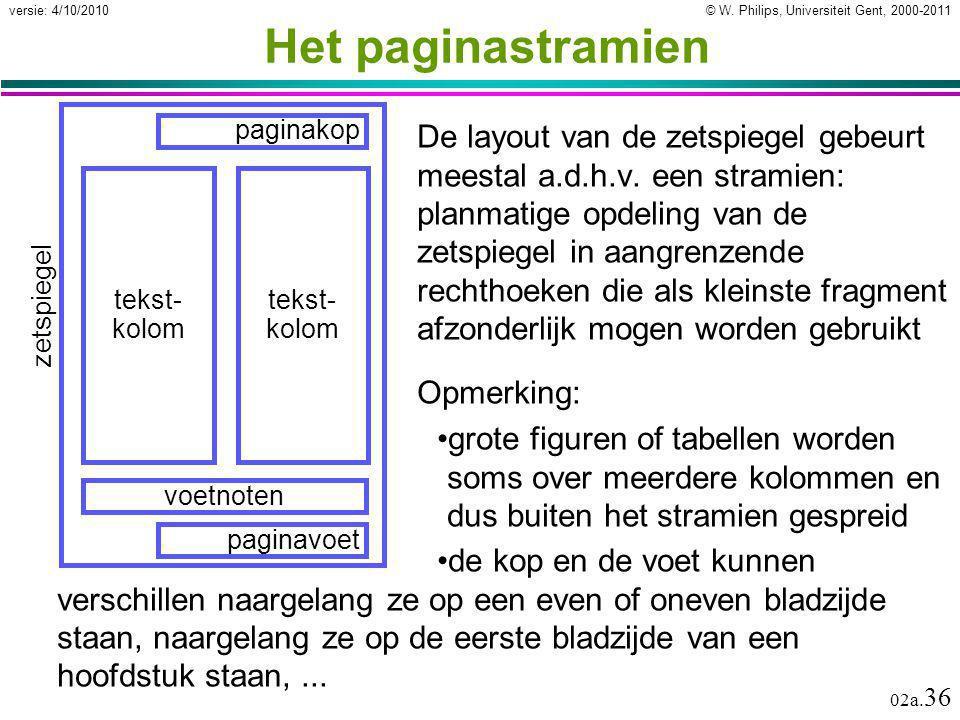 © W. Philips, Universiteit Gent, 2000-2011versie: 4/10/2010 02a. 36 Het paginastramien De layout van de zetspiegel gebeurt meestal a.d.h.v. een strami