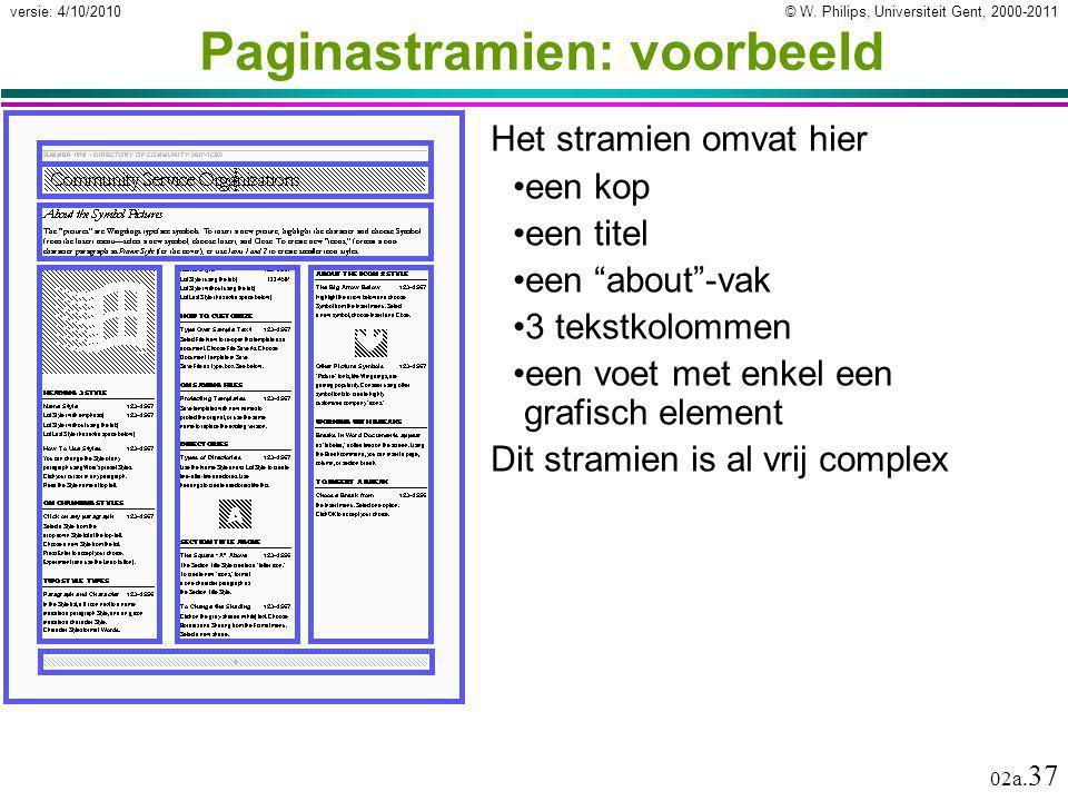 """© W. Philips, Universiteit Gent, 2000-2011versie: 4/10/2010 02a. 37 Paginastramien: voorbeeld Het stramien omvat hier een kop een titel een """"about""""-va"""
