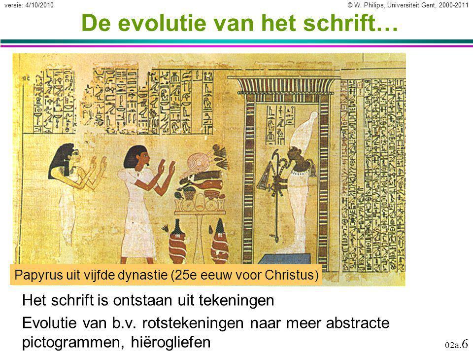 © W. Philips, Universiteit Gent, 2000-2011versie: 4/10/2010 02a. 6 De evolutie van het schrift… Het schrift is ontstaan uit tekeningen Evolutie van b.
