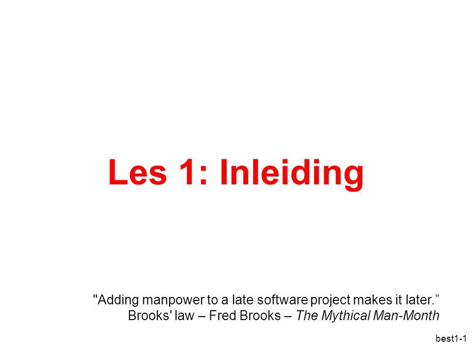 best1-2 Overzicht Wat is een besturingssysteem Een korte geschiedenis Soorten besturingssystemen Architectuur van besturingssystemen Bestaande besturingssystemen Concepten in besturingssystemen