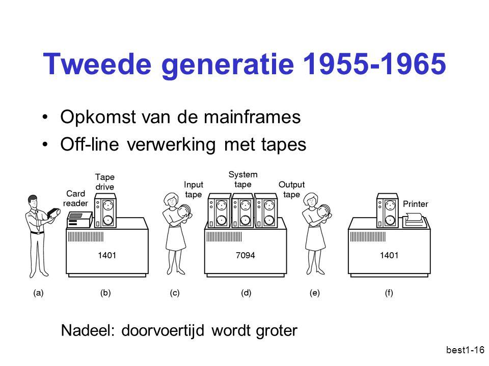 best1-16 Tweede generatie 1955-1965 Opkomst van de mainframes Off-line verwerking met tapes Nadeel: doorvoertijd wordt groter