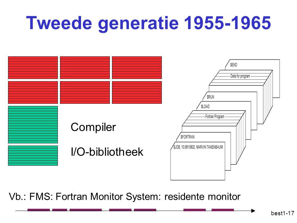 best1-17 Tweede generatie 1955-1965 I/O-bibliotheek Compiler Vb.: FMS: Fortran Monitor System: residente monitor