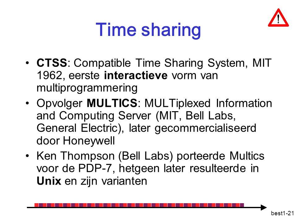 best1-21 Time sharing CTSS: Compatible Time Sharing System, MIT 1962, eerste interactieve vorm van multiprogrammering Opvolger MULTICS: MULTiplexed In