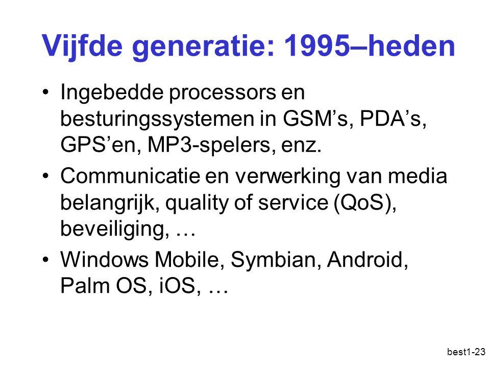 best1-23 Vijfde generatie: 1995–heden Ingebedde processors en besturingssystemen in GSM's, PDA's, GPS'en, MP3-spelers, enz. Communicatie en verwerking