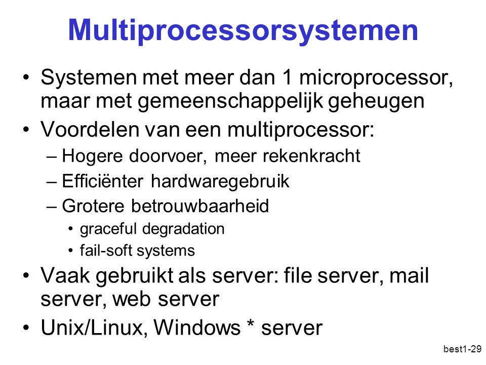 best1-29 Multiprocessorsystemen Systemen met meer dan 1 microprocessor, maar met gemeenschappelijk geheugen Voordelen van een multiprocessor: –Hogere
