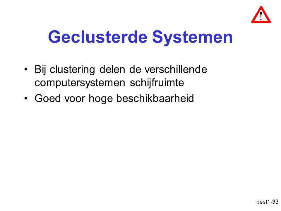 best1-33 Geclusterde Systemen Bij clustering delen de verschillende computersystemen schijfruimte Goed voor hoge beschikbaarheid