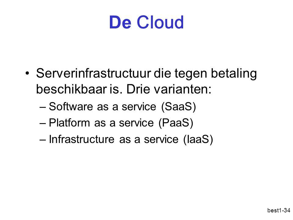 De Cloud Serverinfrastructuur die tegen betaling beschikbaar is. Drie varianten: –Software as a service (SaaS) –Platform as a service (PaaS) –Infrastr