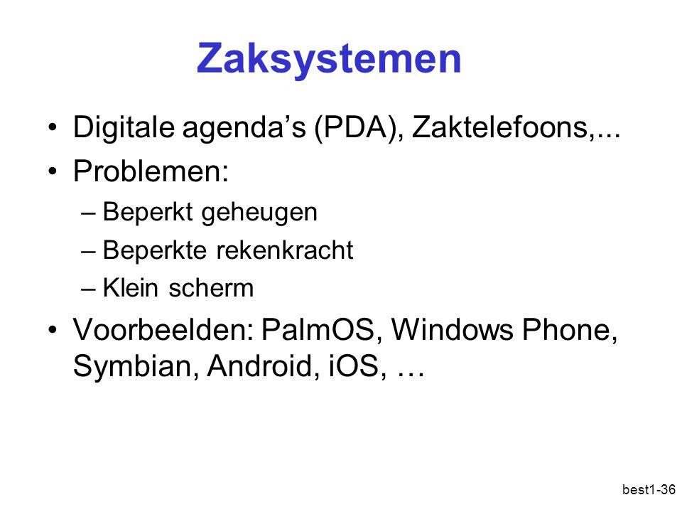 best1-36 Zaksystemen Digitale agenda's (PDA), Zaktelefoons,... Problemen: –Beperkt geheugen –Beperkte rekenkracht –Klein scherm Voorbeelden: PalmOS, W