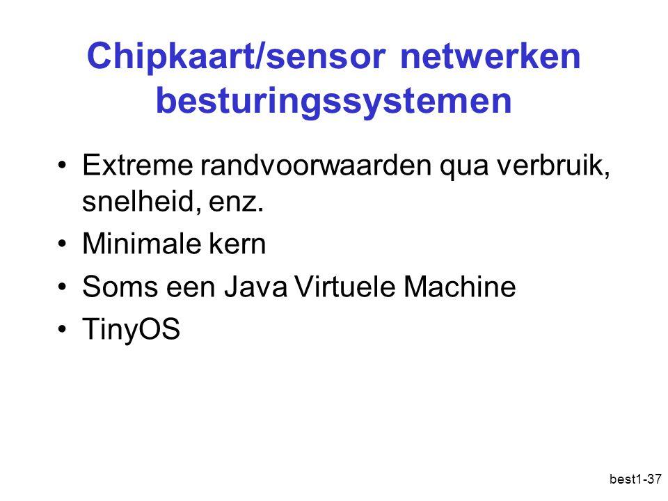best1-37 Chipkaart/sensor netwerken besturingssystemen Extreme randvoorwaarden qua verbruik, snelheid, enz. Minimale kern Soms een Java Virtuele Machi