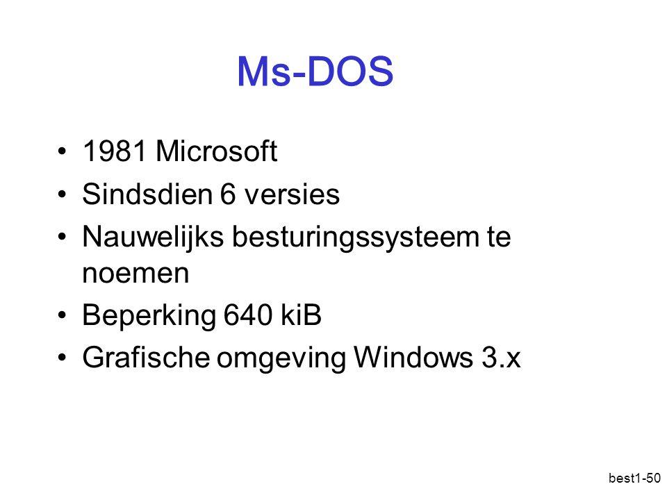 best1-50 Ms-DOS 1981 Microsoft Sindsdien 6 versies Nauwelijks besturingssysteem te noemen Beperking 640 kiB Grafische omgeving Windows 3.x