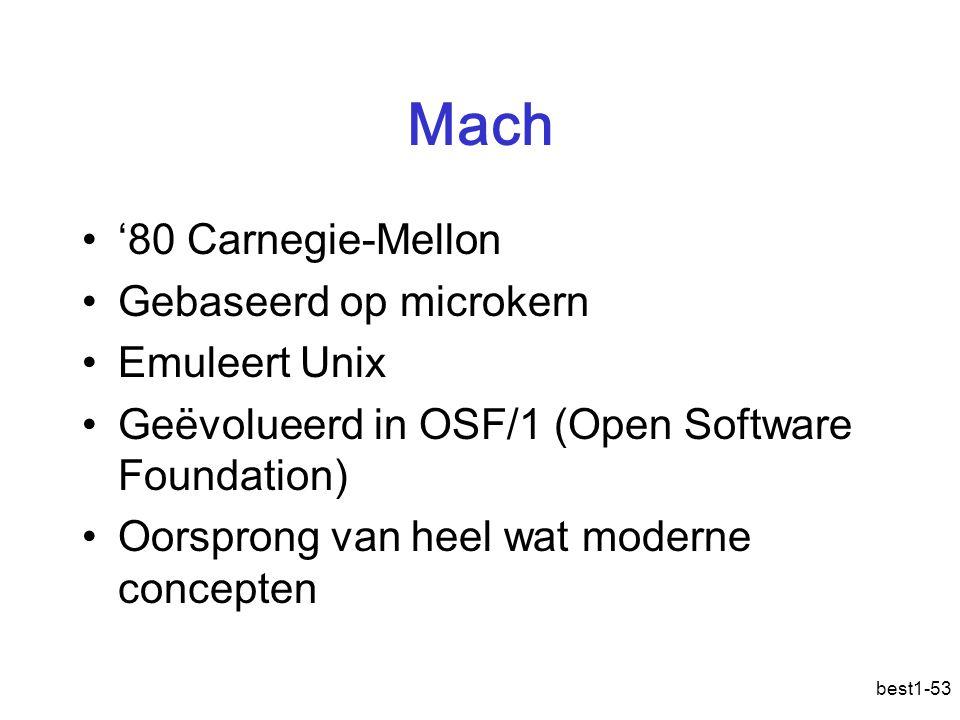 best1-53 Mach '80 Carnegie-Mellon Gebaseerd op microkern Emuleert Unix Geëvolueerd in OSF/1 (Open Software Foundation) Oorsprong van heel wat moderne