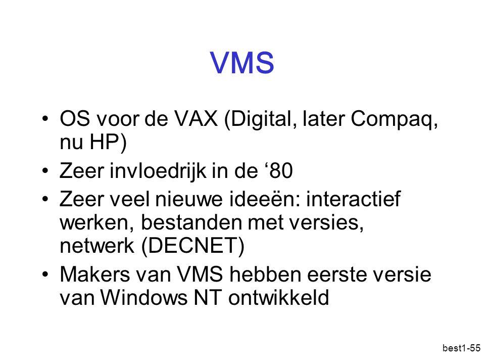 best1-55 VMS OS voor de VAX (Digital, later Compaq, nu HP) Zeer invloedrijk in de '80 Zeer veel nieuwe ideeën: interactief werken, bestanden met versi