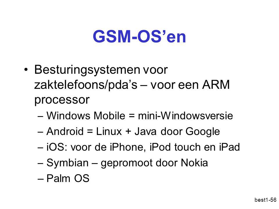 GSM-OS'en Besturingsystemen voor zaktelefoons/pda's – voor een ARM processor –Windows Mobile = mini-Windowsversie –Android = Linux + Java door Google