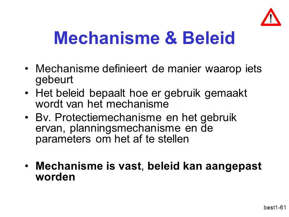 best1-61 Mechanisme & Beleid Mechanisme definieert de manier waarop iets gebeurt Het beleid bepaalt hoe er gebruik gemaakt wordt van het mechanisme Bv