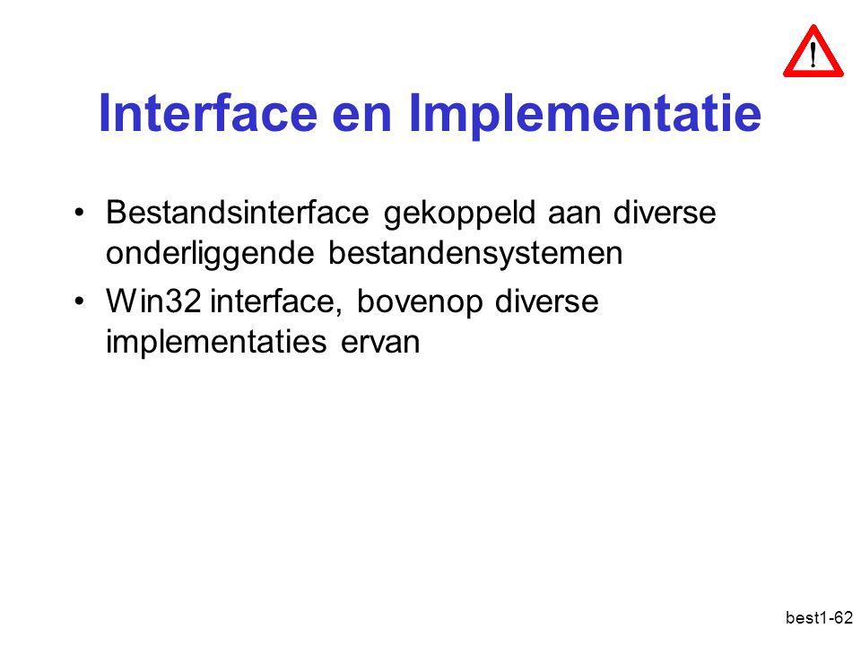 best1-62 Interface en Implementatie Bestandsinterface gekoppeld aan diverse onderliggende bestandensystemen Win32 interface, bovenop diverse implement