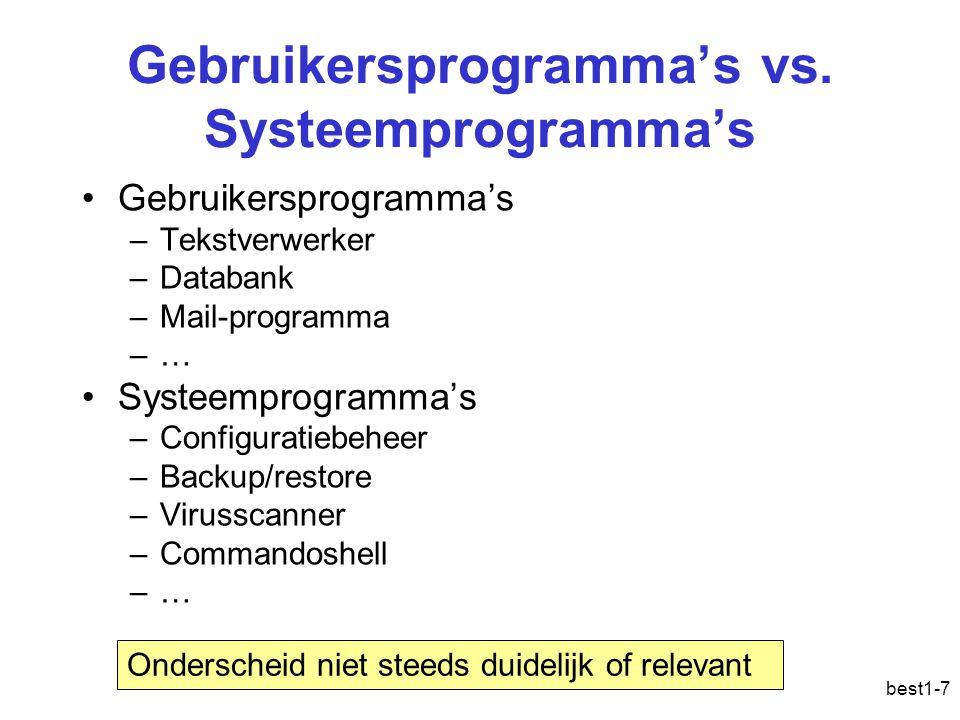 best1-7 Gebruikersprogramma's vs. Systeemprogramma's Gebruikersprogramma's –Tekstverwerker –Databank –Mail-programma –… Systeemprogramma's –Configurat
