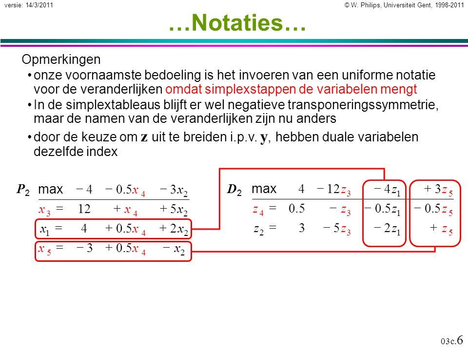 © W. Philips, Universiteit Gent, 1998-2011versie: 14/3/2011 03c. 6 …Notaties… Opmerkingen onze voornaamste bedoeling is het invoeren van een uniforme