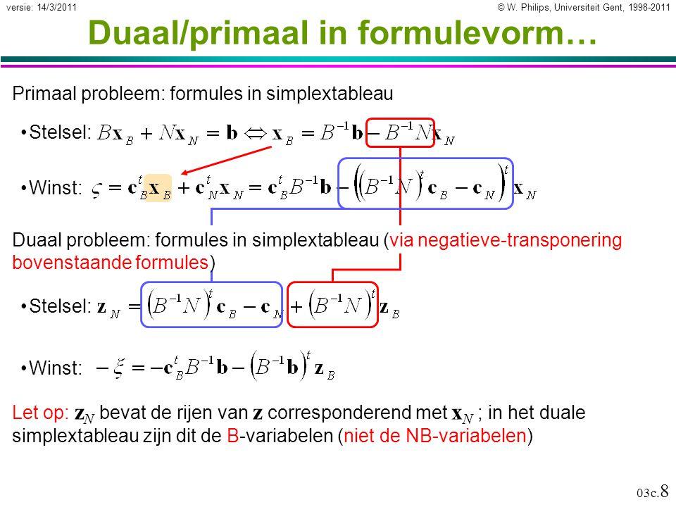 © W. Philips, Universiteit Gent, 1998-2011versie: 14/3/2011 03c. 8 Duaal/primaal in formulevorm… Winst: Primaal probleem: formules in simplextableau S