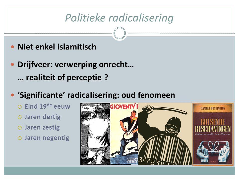 Politieke radicalisering Niet enkel islamitisch Drijfveer: verwerping onrecht… … realiteit of perceptie .