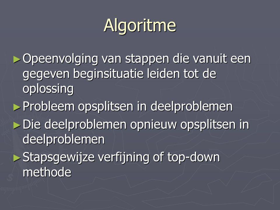Algoritme ► Opeenvolging van stappen die vanuit een gegeven beginsituatie leiden tot de oplossing ► Probleem opsplitsen in deelproblemen ► Die deelproblemen opnieuw opsplitsen in deelproblemen ► Stapsgewijze verfijning of top-down methode