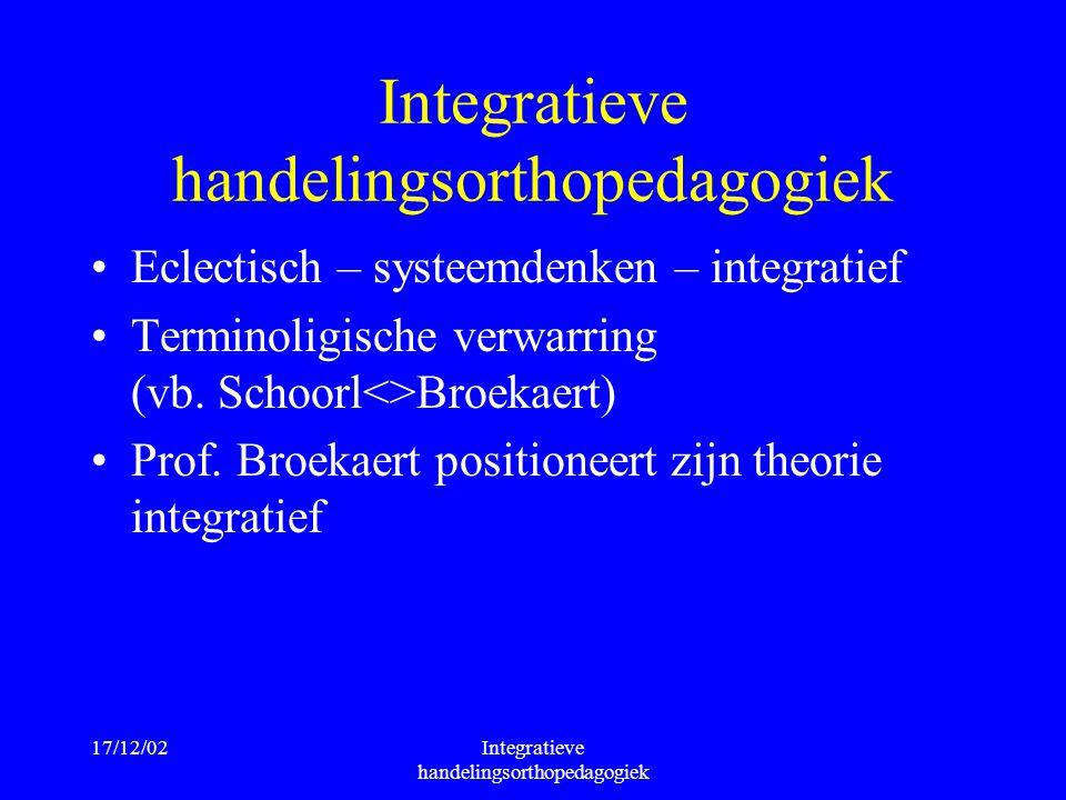 17/12/02Integratieve handelingsorthopedagogiek Eclectisch – systeemdenken – integratief Terminoligische verwarring (vb. Schoorl<>Broekaert) Prof. Broe