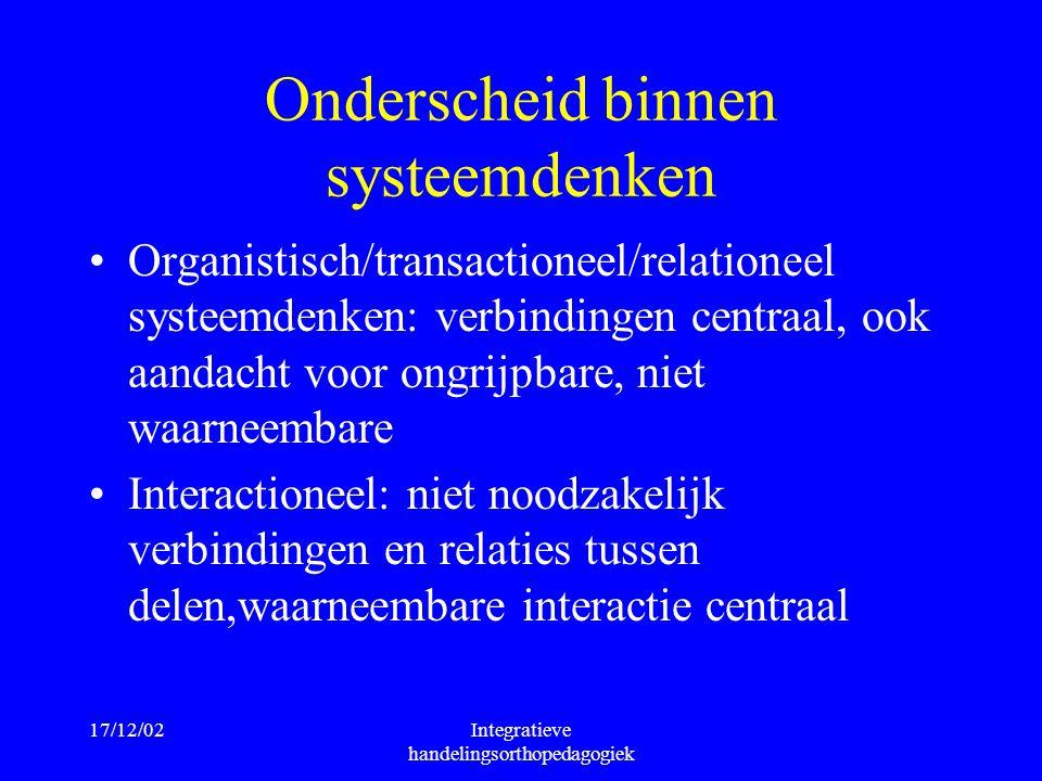 17/12/02Integratieve handelingsorthopedagogiek Onderscheid binnen systeemdenken Organistisch/transactioneel/relationeel systeemdenken: verbindingen ce