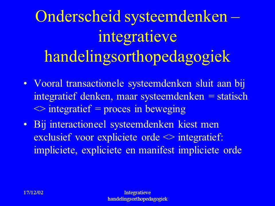 17/12/02Integratieve handelingsorthopedagogiek Onderscheid systeemdenken – integratieve handelingsorthopedagogiek Vooral transactionele systeemdenken