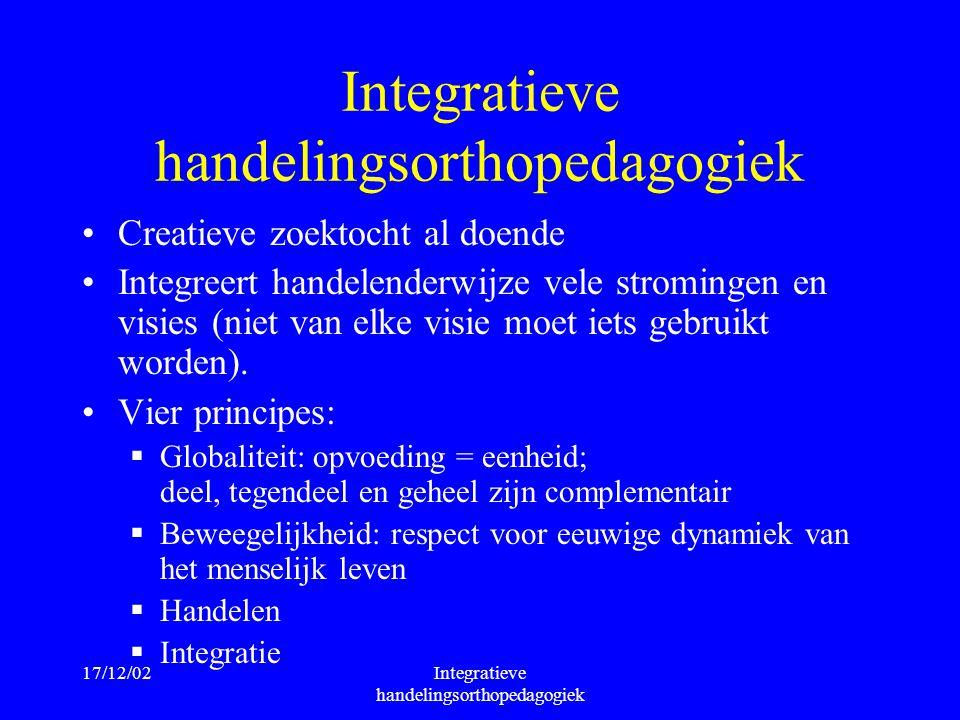 17/12/02Integratieve handelingsorthopedagogiek Creatieve zoektocht al doende Integreert handelenderwijze vele stromingen en visies (niet van elke visi
