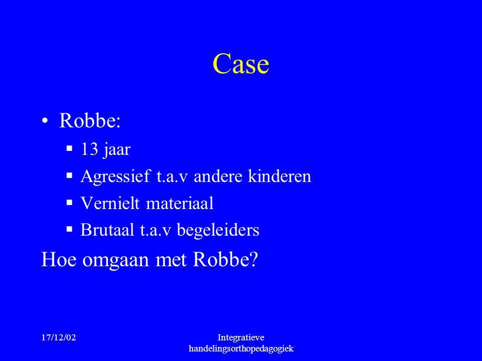 17/12/02Integratieve handelingsorthopedagogiek Case Robbe:  13 jaar  Agressief t.a.v andere kinderen  Vernielt materiaal  Brutaal t.a.v begeleider