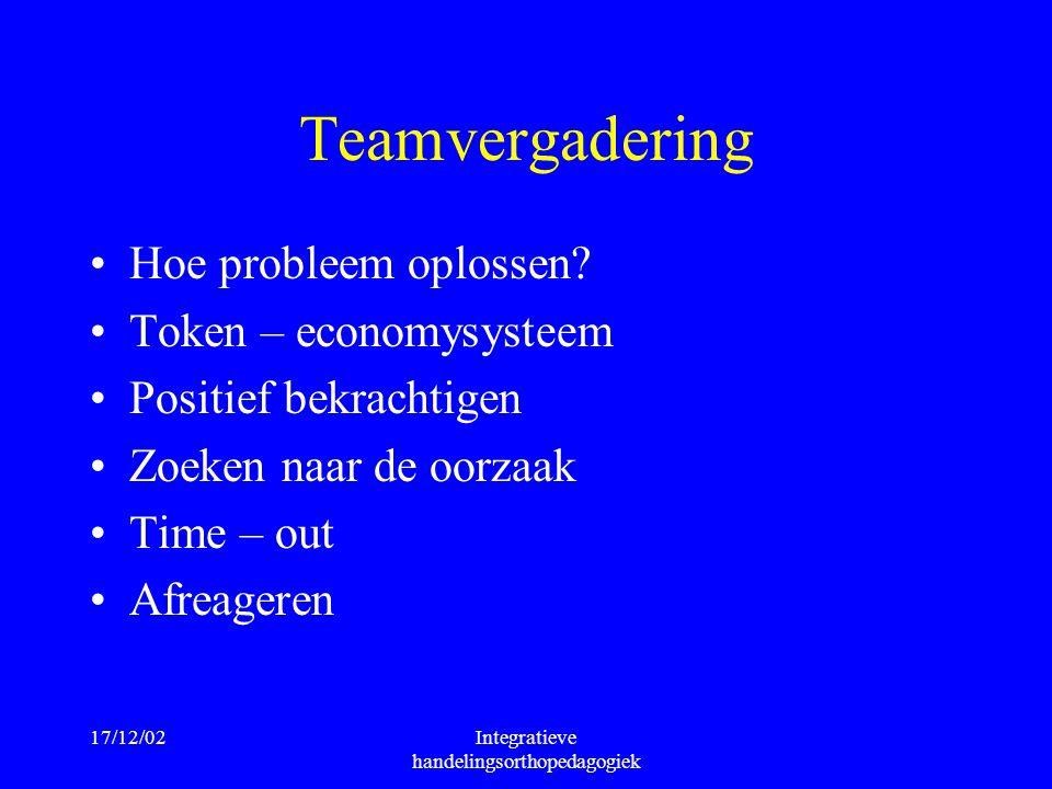 17/12/02Integratieve handelingsorthopedagogiek Teamvergadering Hoe probleem oplossen? Token – economysysteem Positief bekrachtigen Zoeken naar de oorz