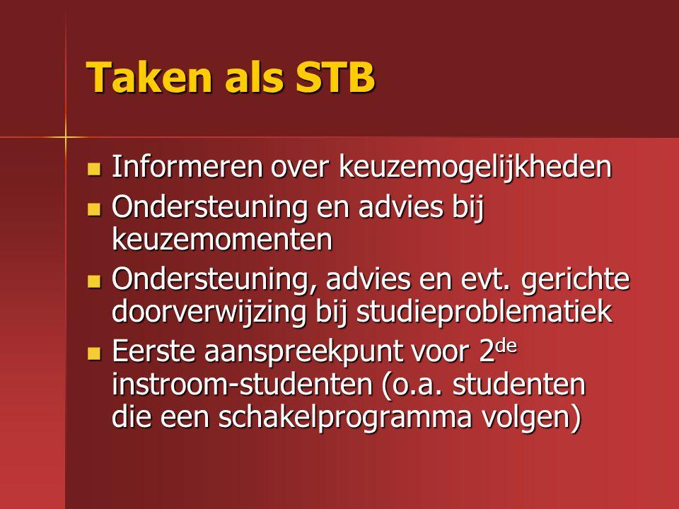Taken als STB Informeren over keuzemogelijkheden Informeren over keuzemogelijkheden Ondersteuning en advies bij keuzemomenten Ondersteuning en advies